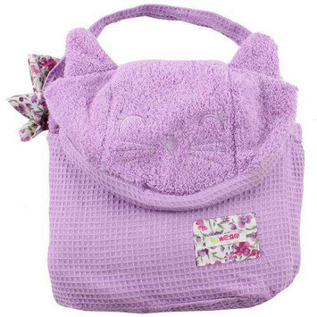 Minene Cat Cuddly Hooded Towel with Apron Straps in Lilac