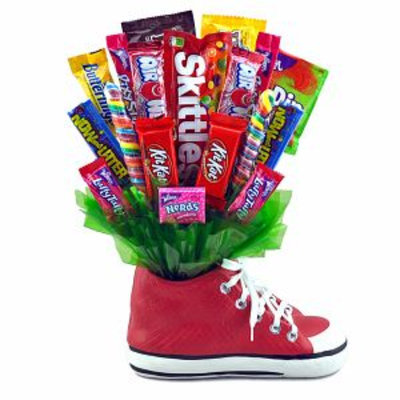 Sweets in Bloom Sneaker Snacker - Red Ceramic Sneaker and Candy Bouquet
