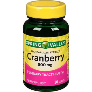 Spring Valley Standardized Extract Cranberry Dietary Supplement, 500 mg, 30 count