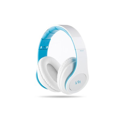 VM Audio Elux Over-Ear Hyperbass Headphones - Piano White/Blue