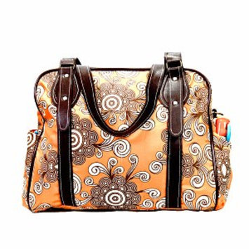 House of Botori Ginika Twirl Diaper Bag, Tangerine, 1 ea