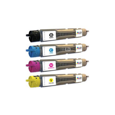 LD © Compatible Xerox Phaser 6300 Set of 4 Laser Toner Cartridges: 1 each of Black 106R01085, Cyan 106R01082, Magenta 106R01083, Yellow 106R01084