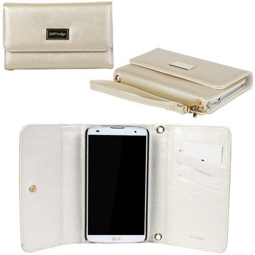 JAVOedge Spring Pastel Wallet Case with Wristlet for the LG Pro 2 (Gold)