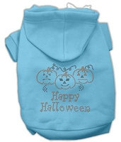 Mirage Pet Products 541301 XXXLBBL Happy Halloween Rhinestone Hoodies Baby Blue XXXL 20