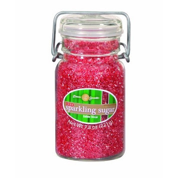 Dean Jacob's Dean Jacobs Red Sparkling Sugar-Glass Jar with Wire, 7.8-Ounce (Pack of 3)