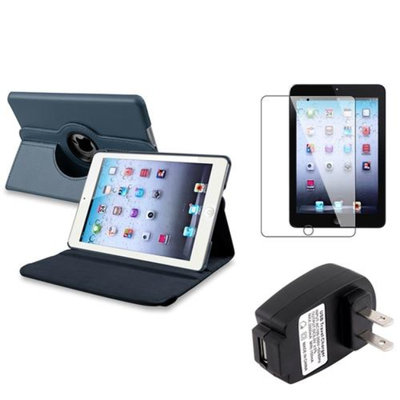 Insten iPad Mini 3/2/1 Case, by INSTEN Navy Blue 360 Leather Case Cover+SP+Charger for iPad Mini 3 2 1