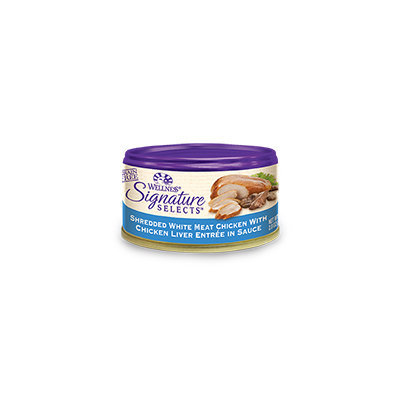 Wellness Signature Selects Shredded White Meat Chicken with Chicken Liver Entree in Sauce Canned Cat Food, 24 count, 2.8 oz