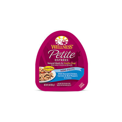 Wellness Petite Entrees Mini-Filets Roasted Chicken, Carrots & Red Pepper in Gravy Dog Food, 3 oz. Case of 24