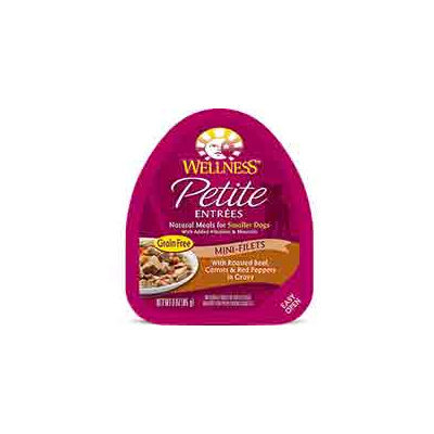 Wellness Petite Entrees Mini-Filets Roasted Beef, Carrots & Red Peppers in Gravy Dog Food, 3 oz. Case of 24