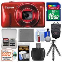 Canon PowerShot SX600 HS Wi-Fi Digital Camera (Red) with 16GB Card + Case + Battery + Flex Tripod + Kit