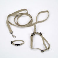 Coastal Pet Products Coastal Pet New Earth 3-Piece Soy Dog Leash, Harness and Collar Bundle in Tan, 3/8 Width