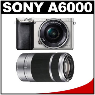 Sony Alpha A6000 Wi-Fi Digital Camera & 16-50mm Lens (Silver) with E-Mount 55-210mm f/4.5-6.3 OSS Zoom Lens