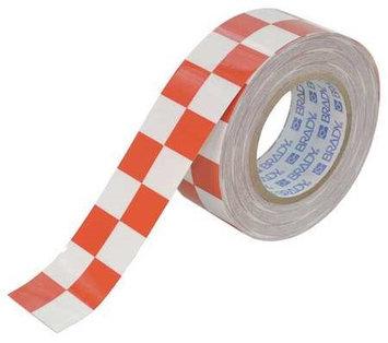 BRADY 121916 Aisle Marking Tape,2In W,100Ft L,Red/Wht