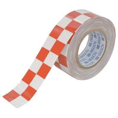 BRADY 121916 Aisle Marking Tape,2In W,100Ft L,Red/Wht