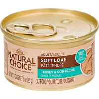 Nutro Natural Choice Adult Soft Loaf Turkey & Cod Recipe Canned Cat Food 24/3-oz cans