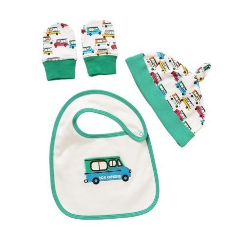 Rockin' Baby White & Green Ice Cream Truck Cozy Bib Set