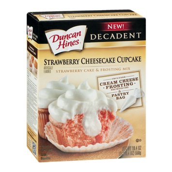 Duncan Hines Decadent Strawberry Cake & Frosting Mix Strawberry Cheesecake Cupcake