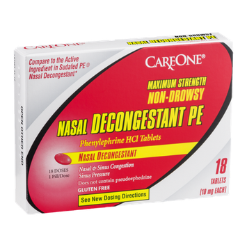 CareOne Maximum Strength Nasal Decongestant PE Non-Drowsy Tablets - 18 CT