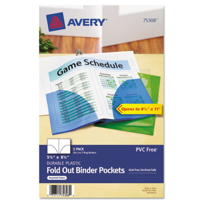 Avery Binder Pockets, Assorted Colors, 3/pk