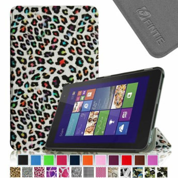 Fintie Slim Shell Leather Case for New Dell Venue 8 (2014 Version) 8-Inch Android Tablet, Leopard Rainbow