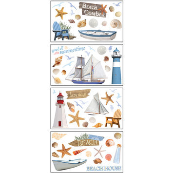 Paper House Productions, Inc Sticky Pix Removable & Repositionable Ultimate Wall Sticker Appliques - Beach