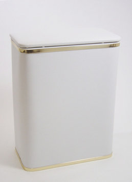Redmon Diamond Bath Jewelry Hamper - White With Gold Trim
