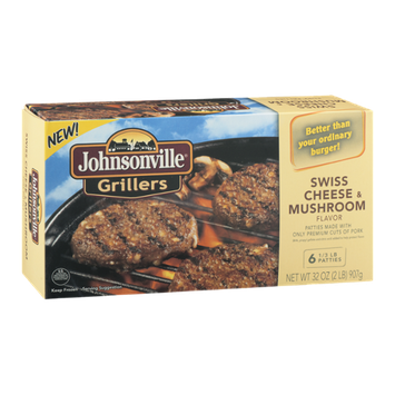 Johnsonville Grillers Swiss Cheese & Mushroom Flavor Patties - 6 CT