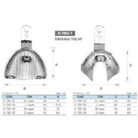 Osung TBEZ8 Dental Impression Trays, Edentulous, Ni-Brass, (Pack of 8)