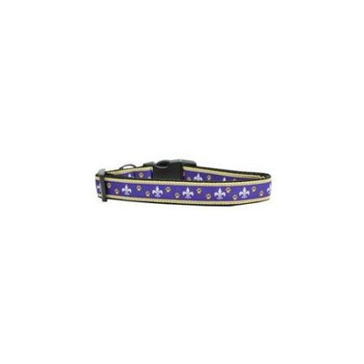 Ahi Purple and Yellow Fleur de Lis Nylon Dog Collars Large