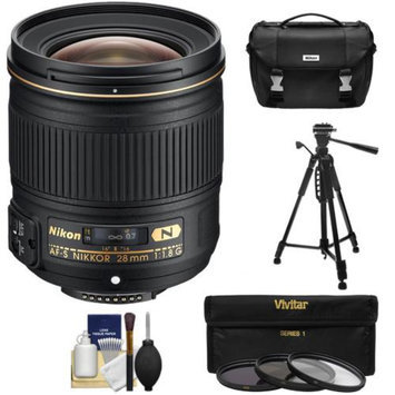 Nikon 28mm f/1.8G AF-S Nikkor Lens with Nikon Case + 3 UV/ND8/CPL Filters + Tripod Kit for D3200, D3300, D5200, D5300, D7000, D7100, D610, D800, D810 & D4s DSLR Cameras