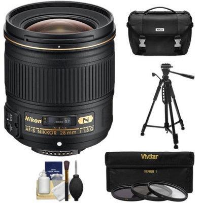 Nikon 28mm f/1.8G AF-S Nikkor Lens with Nikon Case + 3 UV/ND8/CPL Filters + Tripod Kit for D3200, D3300, D5200, D5300, D7000, D7100, D610, D800, D810 & D4s DSLR Cameras