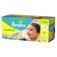 Pampers Swaddlers Diapers & Sensitive Wipes Combo Pack: Size 4 (116
