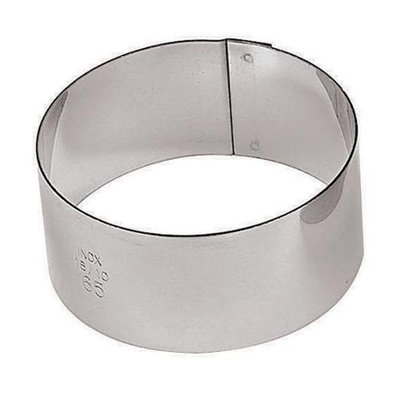 Paderno World Cuisine 47425-02 x6 Round S/S Pastry Rings - 2, L 2 x W 2 x H 1. 125