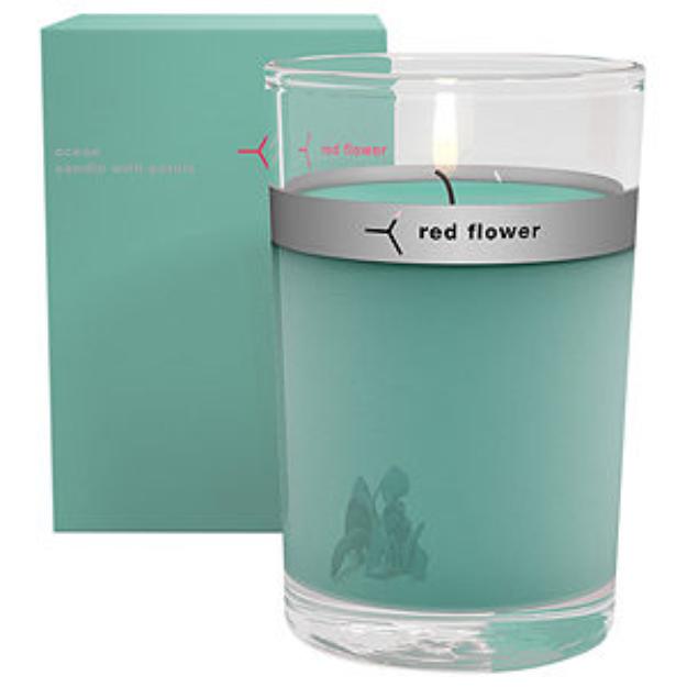 Red Flower red flower Petal Top Candle, Ocean, 1 ea