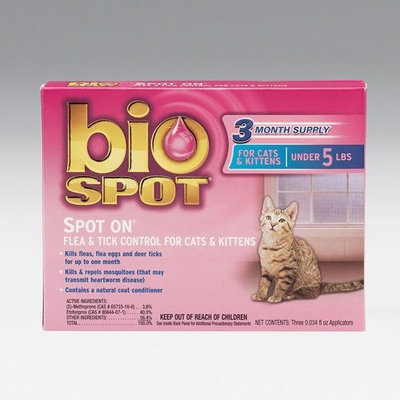 Bio Spot SPOT ON Flea and Tick Topical for Cats under 5 lbs