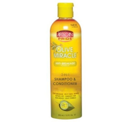 African Pride Olive Miracle 2 in 1 Shampoo & Conditioner 12 Oz