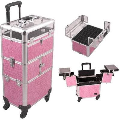 Sunrise Books Sunrise I31064CRPK Pink Crocodile Trolley Makeup Case