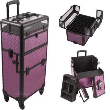 Sunrise Books Sunrise I31061DMPLB Purple Diamond Trolley Makeup Case