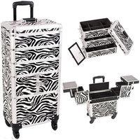 Sunrise Books Sunrise I3364ZBWH Zebra Trolley Makeup Case