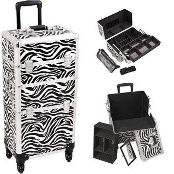 Sunrise Books Sunrise I3761ZBWH Zebra Trolley Makeup Case