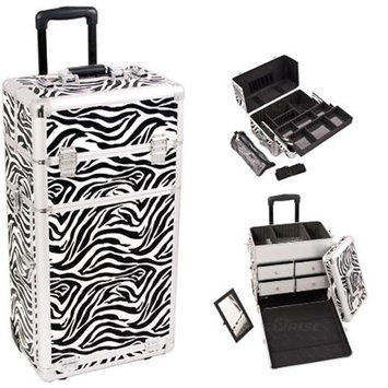 Sunrise Books Sunrise I3762ZBWH Zebra Trolley Makeup Case
