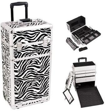 Sunrise Books Sunrise I3763ZBWH Zebra Trolley Makeup Case