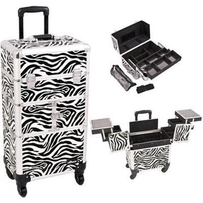 Sunrise Books Sunrise I3764ZBWH Zebra Trolley Makeup Case