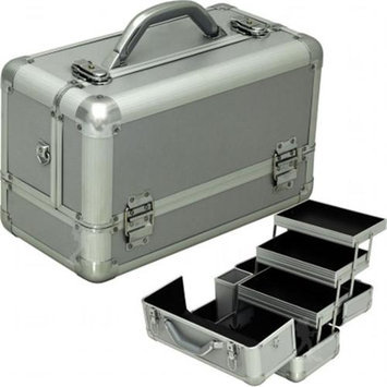 Hiker HK3101PPSL Silver Smooth 3-Tiers Extendable Trays Professional Makeup Train Case
