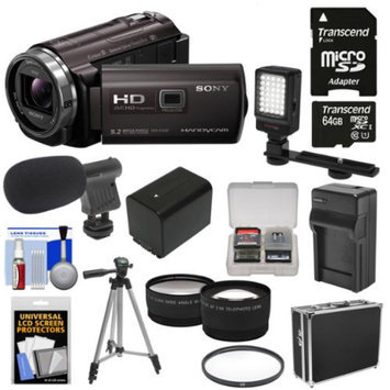 Sony Handycam HDR-PJ540 32GB 1080p HD Video Camera Camcorder with Projector with 64GB Card + Battery & Charger + Case + LED Light + Microphone + Tripod + Tele/Wide Lens Kit