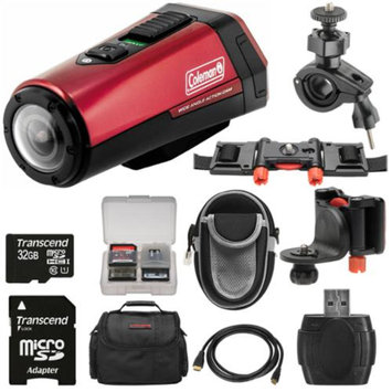 Coleman Aktivsport CX9WP GPS HD Video Action Camera Camcorder (Red) with 32GB Card + Cases + Kit