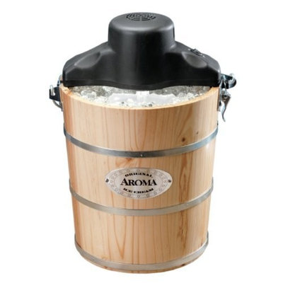 Aroma AIC-204EM 4-Quart Wood-Barrel Ice-Cream Maker, Natural Wood