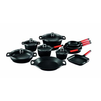 M Block Fundix by Castey 15-pc. Cookware Set with Red Handles