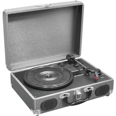 Pyle Retro Belt-Drive Turntable With USB-to-PC Connection, Rechargeable Battery (Grey Color)