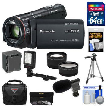 Panasonic HC-X920 3MOS Ultrafine Full HD Wi-Fi Video Camera Camcorder (Black) with 64GB Card + Battery + Case + Video Light + Microphone + Tripod + Tele/Wide Lens Kit